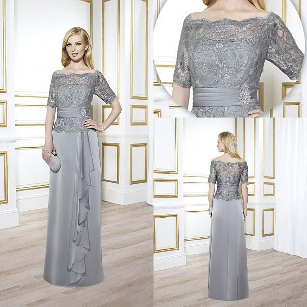 Vintage Mother Of The Bride Groom Grey Sliver With Lace Half 2015 ...