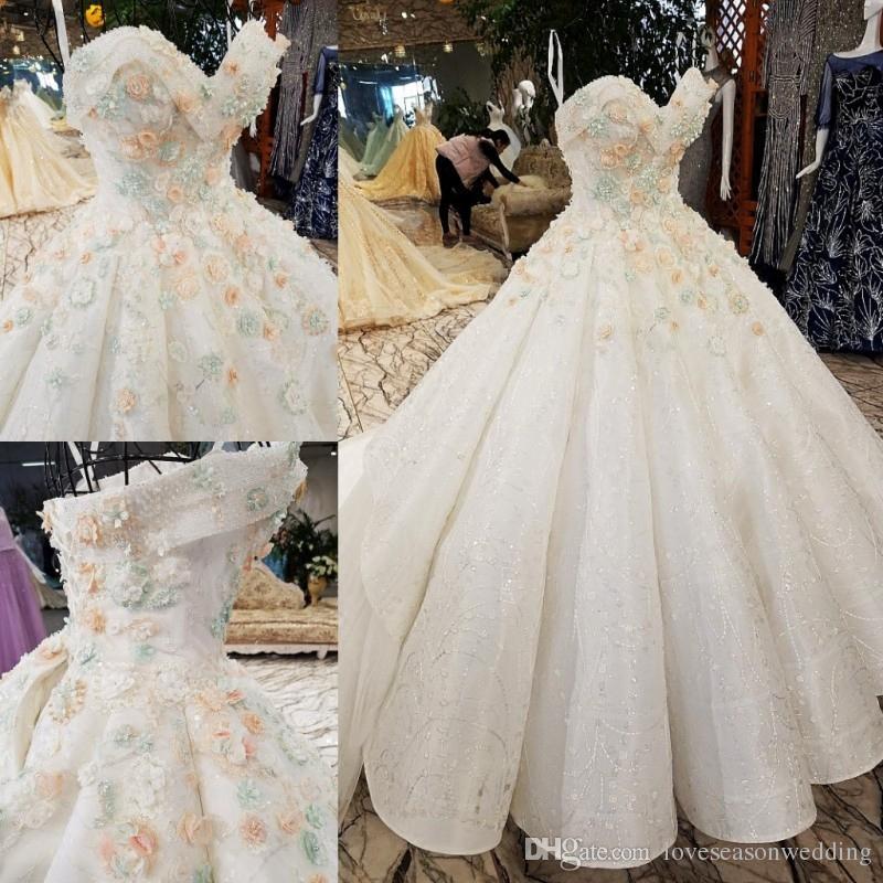 Großhandel Ls2255 Luxus Vintage Trägerlosen Elfenbein Brautkleider ...
