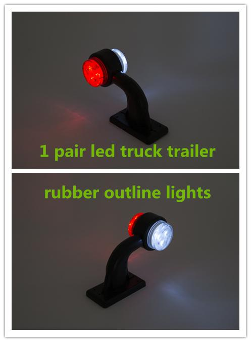 bar 1pair 2'' 24V 12v LED rubber stalk light bar side outline lamps external lamps Trailer Truck lights Lorry