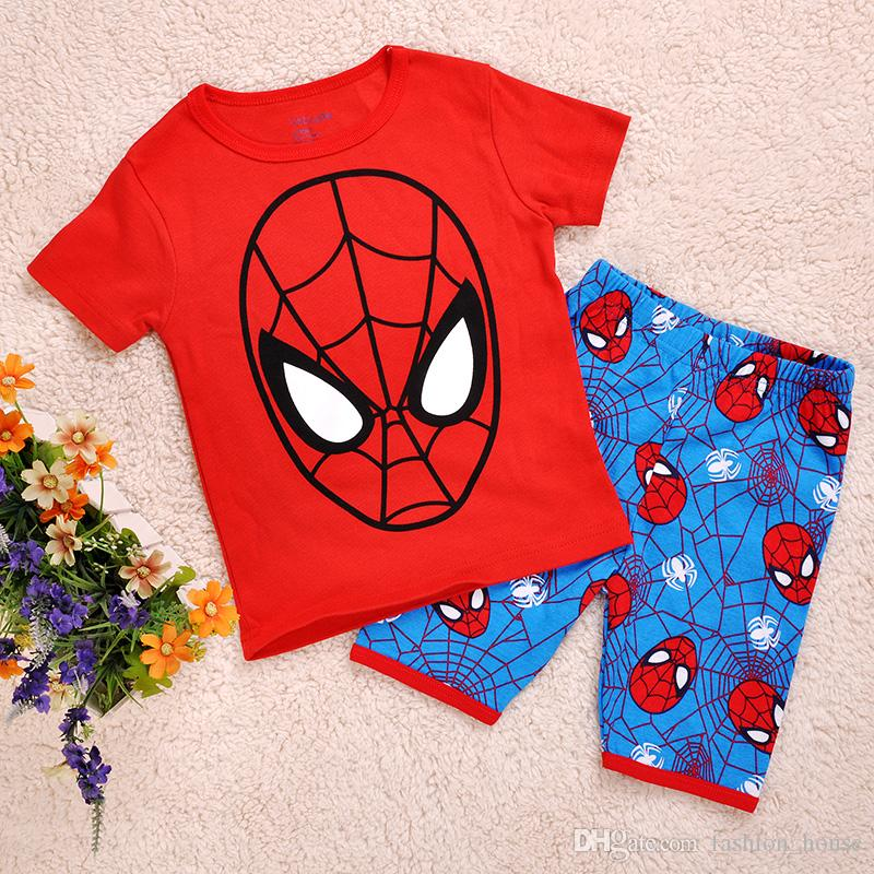 boys girls Spider man Pyjamas kids pyjamas sets spiderman baby pajamas sleepwear short sleeve children cute pajamas CY3065