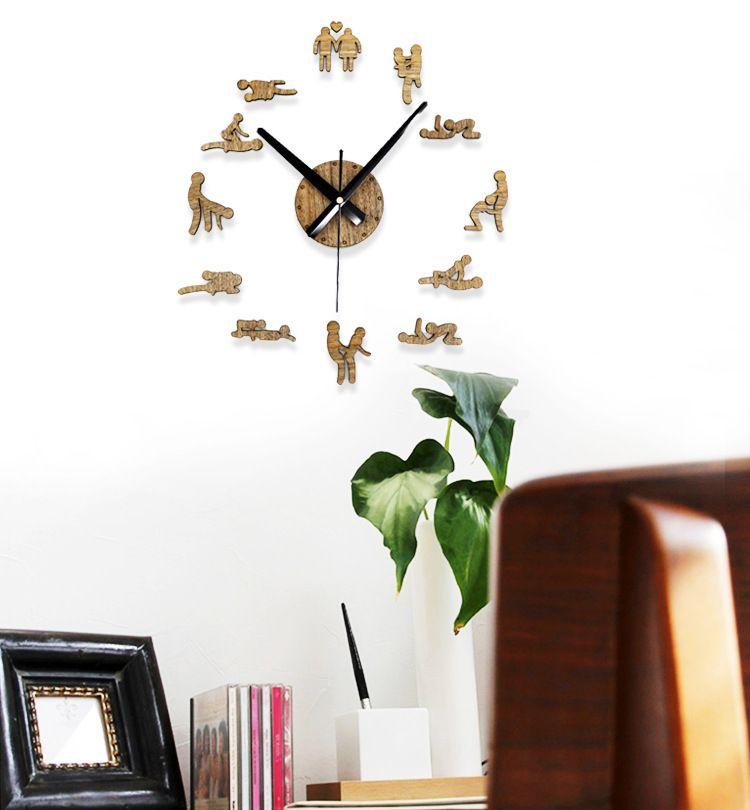 New Creative Fashion Sex Time Pastoral Vintage Wood Wall Charts Simple Diy Clock Large Bedroom Living Room Digital Online