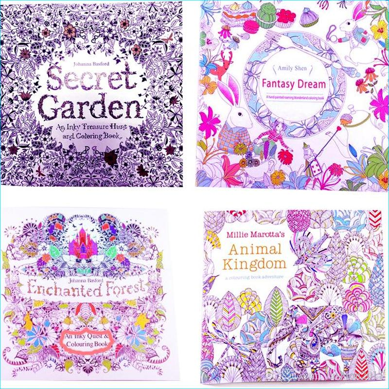 Adult Coloring Books 4 Designs Secret Garden Animal Kingdom