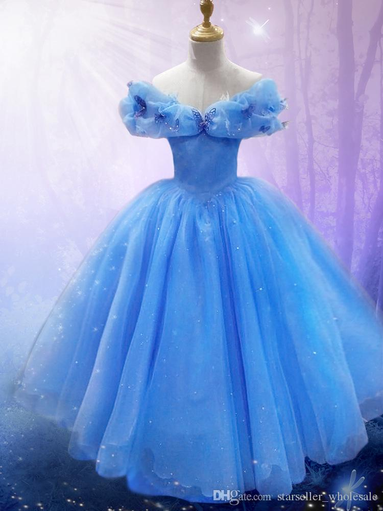 Blue lace cinderella dresses for girls costume flower girl for Dresses for girls for wedding
