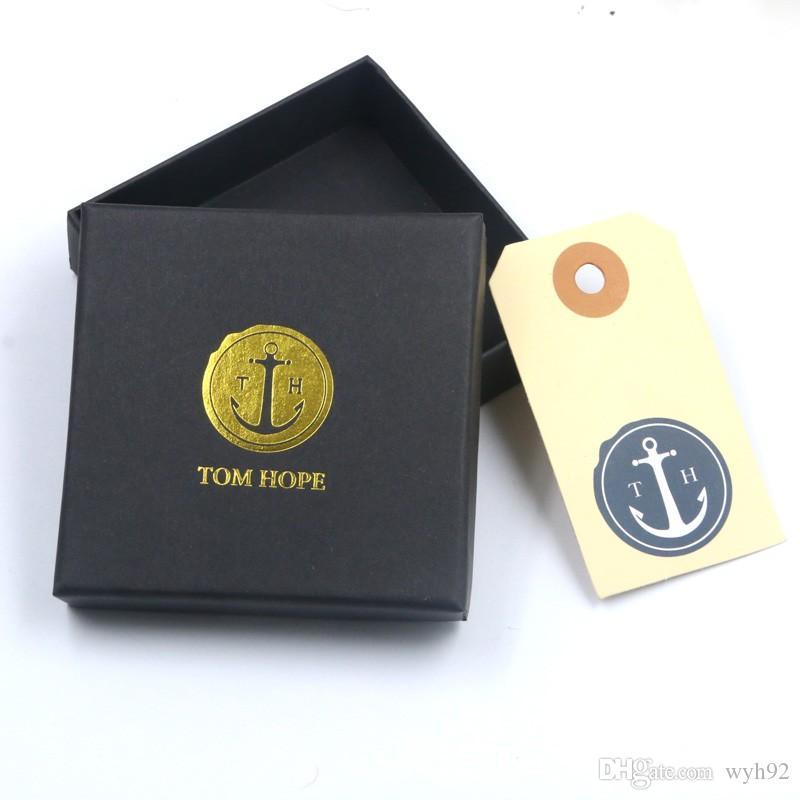 Tom Hope Bilezik 4 Boyutu El Yapımı Siyah Üçlü Konu Halat Paslanmaz Çelik Çapa Charms Bileklik Kutusu ve Tag Th6
