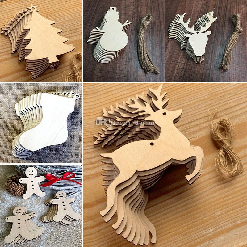 10 pcs/Lot Christmas Tree Ornaments Wood Chip Snowman Tree Deer Socks Hanging Pendant Christmas Decoration Xmas Gift Crafts WX9-123