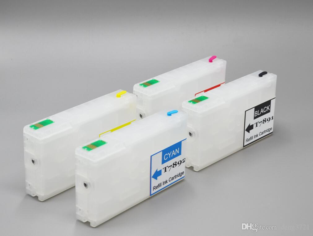 T7891BK,T7892C,T7893M,T7894Y Empty DIY refill ink cartridge with chips for Epson Workforce Pro WF-5190/5110/5690/5620 printer