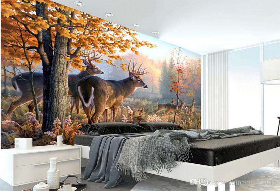 3d stereoscopic wallpaper Green mountains and water landscape painting mural