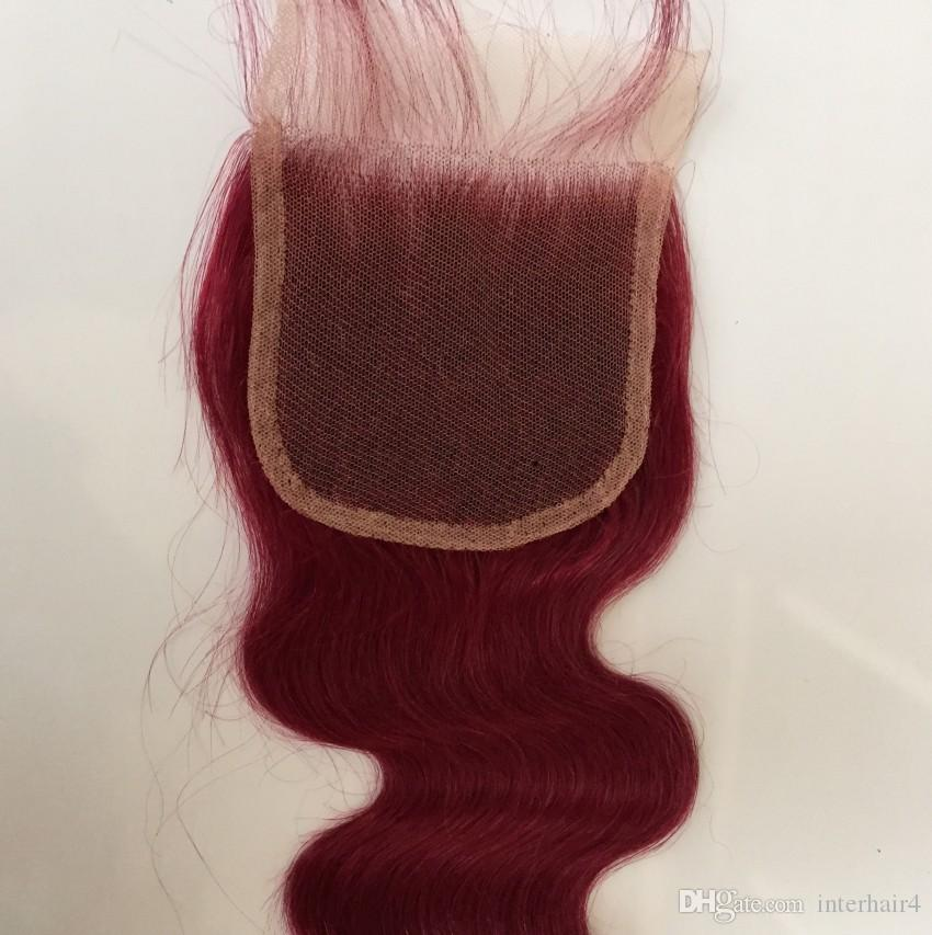 hot selling top quality 99j# virgin peruvian hair burgundy human hair body wave top lace closure