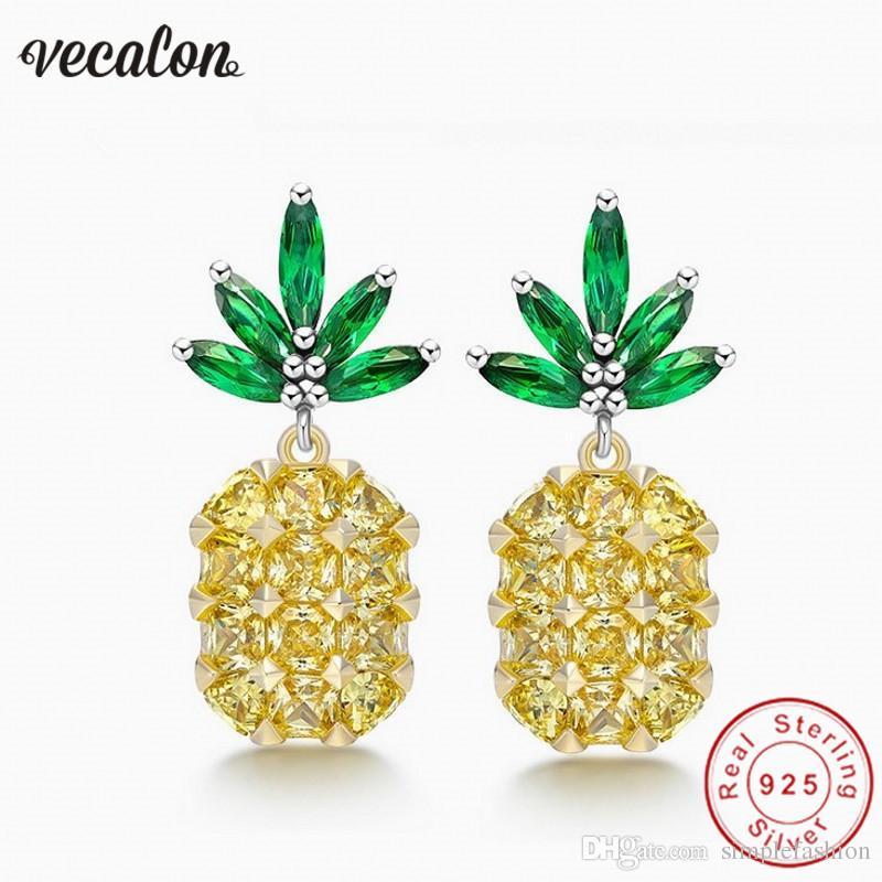 Vecalon Kadın ananas küpe Kristal 5A Zirkon 925 Ayar gümüş Parti düğün Saplama Küpe kadınlar için Moda Takı