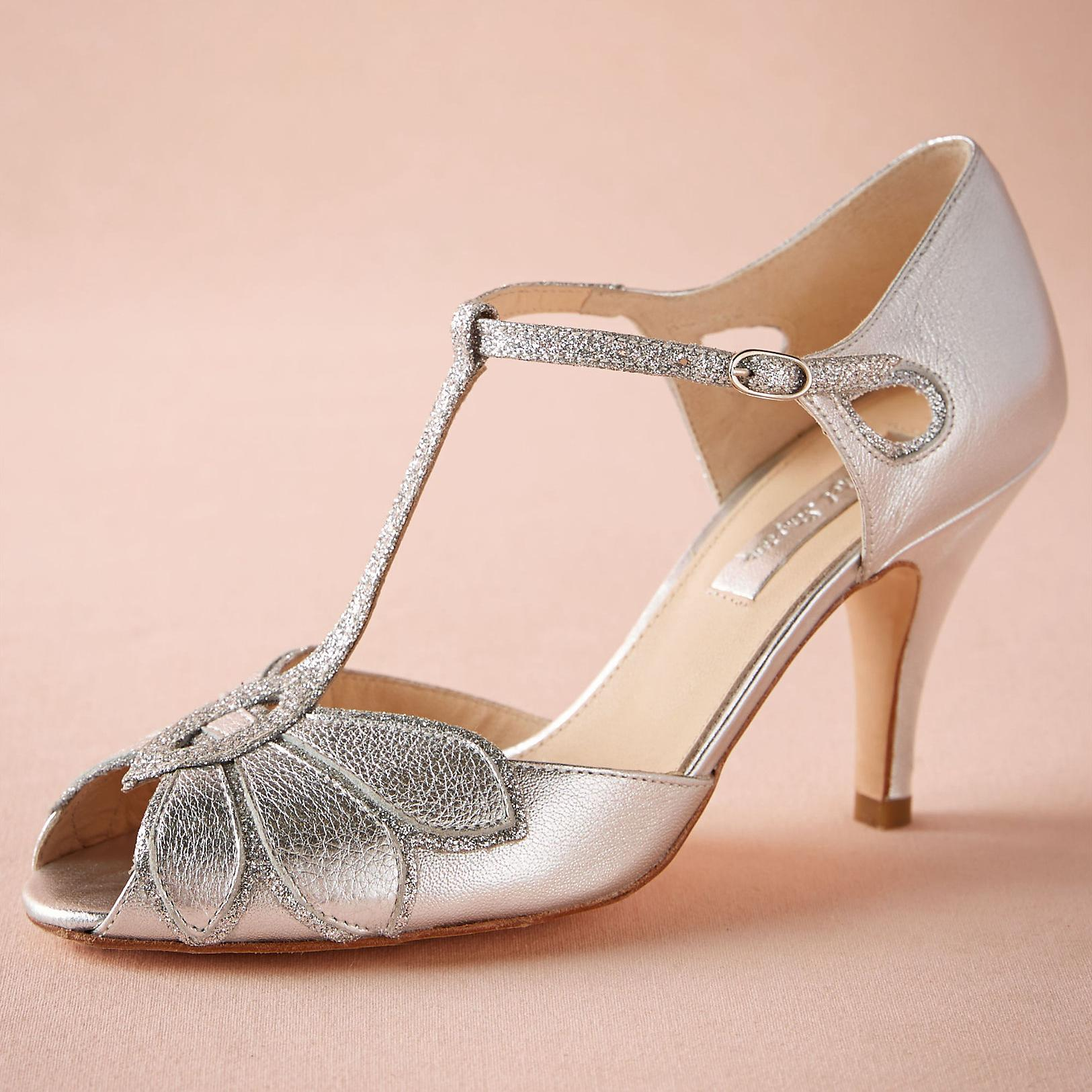 "Silver Wedding Shoes Glitter Pumps Mimosa T-Straps Buckle Closure Leather Party Dance 3"" High Heels Women Sandals Open Toe Bridal Shoes"