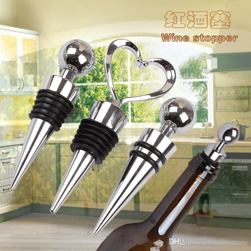 New exquisite heart shaped wine Stopper high quality zinc alloy + silicone bar wine tools