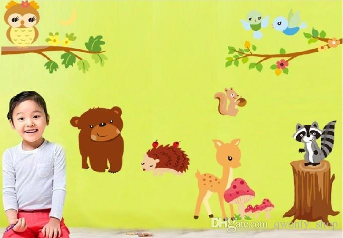 Owl Bird Giraffe Squirrel Forest Animal Wall Stickers The Children a Happy Childhood Art Mural Peel and Stick Wall Decals Kids Room150x106cm