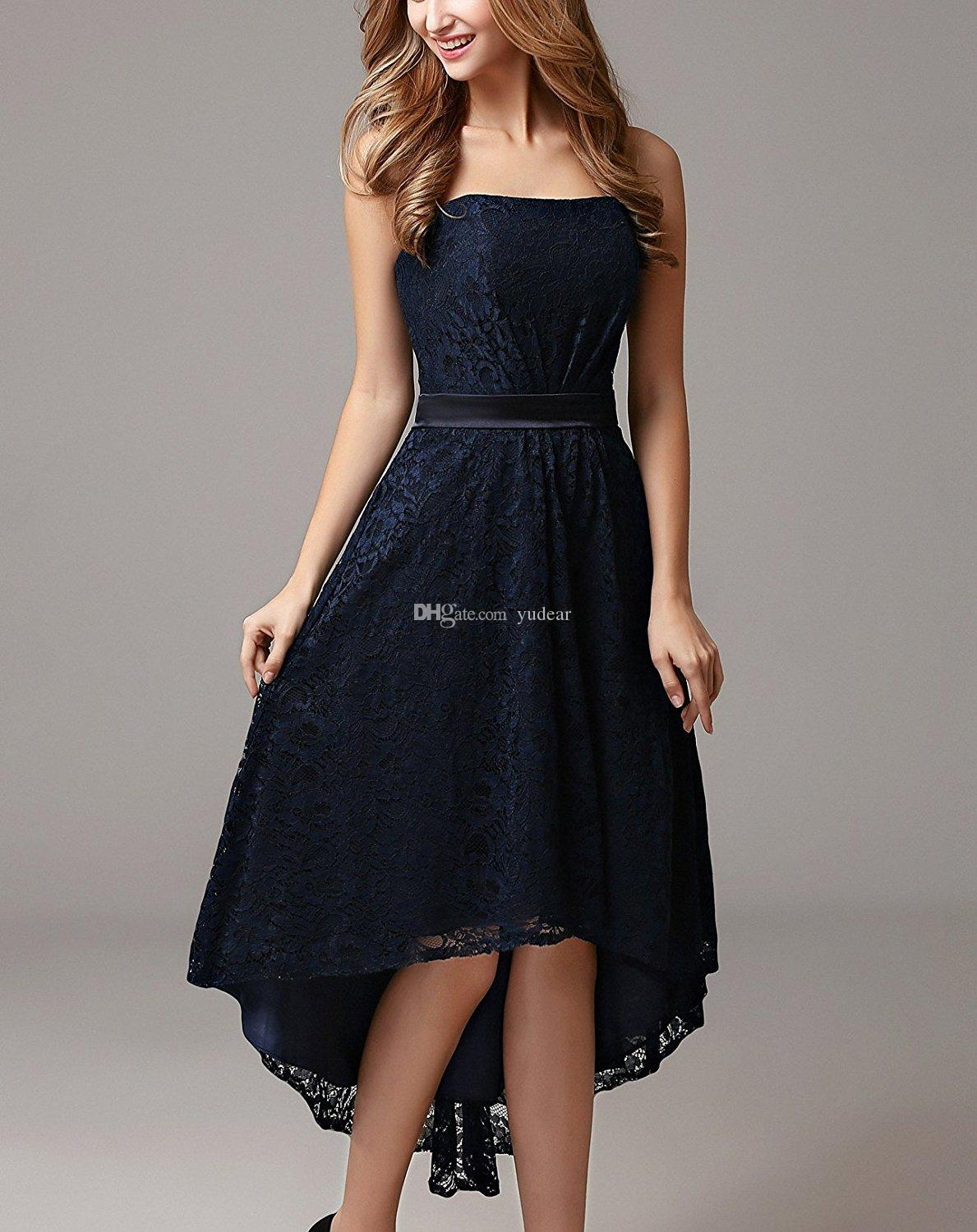 New Design 2019 Strapless Women Prom Dresses Sexy Sleeveless Hi-Lo Cocktail Dress Charming Lace Open Back Waist Ribbon Bridesmaid Dress Chic