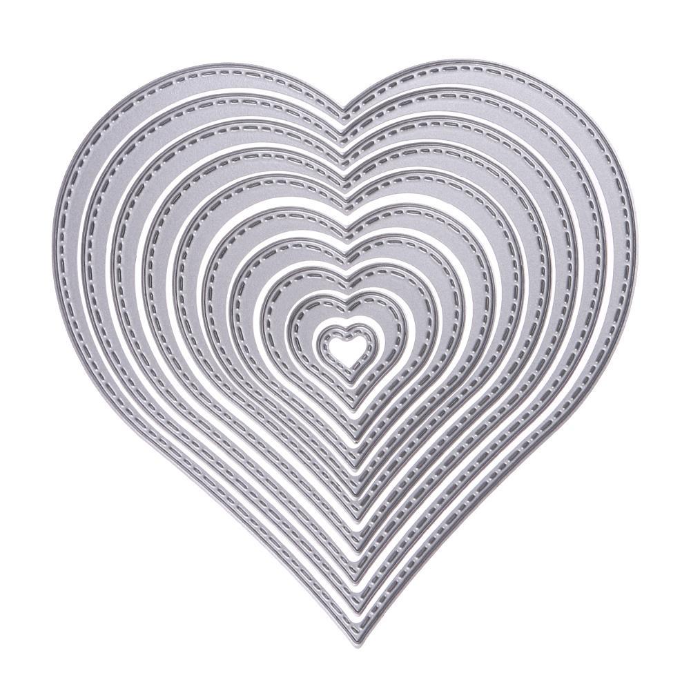10pcs/set Cutting Dies Heart Sewing thread Cutting Dies Stencil For DIY Scrapbooking Album Decorative Embossing Paper Card Craft
