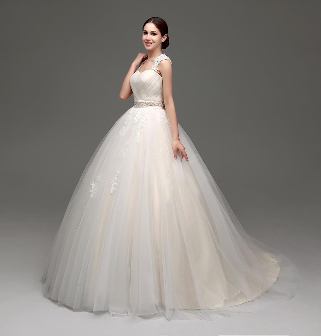 9fc306ccc6d Luxury Ball Gown Wedding Dresses Cheap 2016 Cap Sleeves Lace Appliques  Ruched Champagne Tulle Bridal Gowns Real Pictures With Crystal Beaded  Ballroom ...