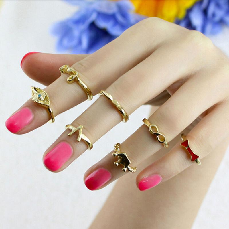 2018 2016 Trendy Crown Bowknot Knuckle Ring Set Retro Gold Finger