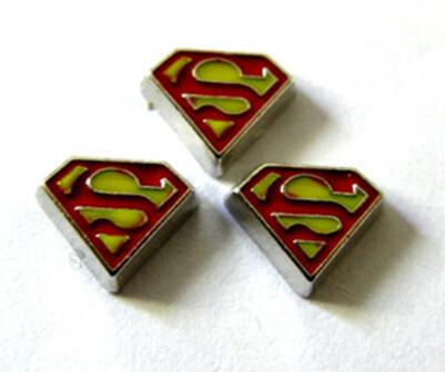 Superman Alloy Floating Locket Charms , DIY Accessories Fit For Glass Magnetic Locket Jewelry Making