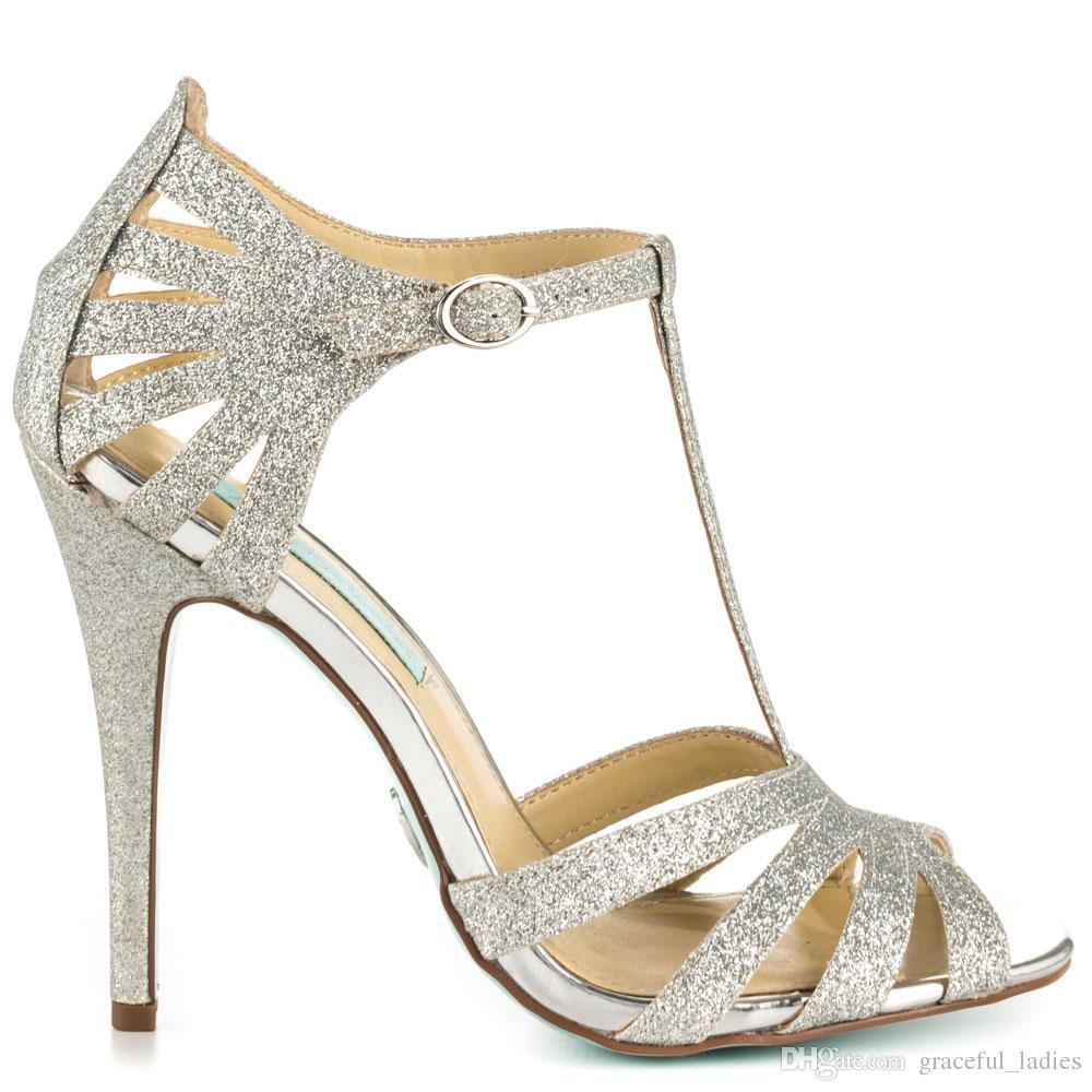 Gold Glitter Low Heel Shoes