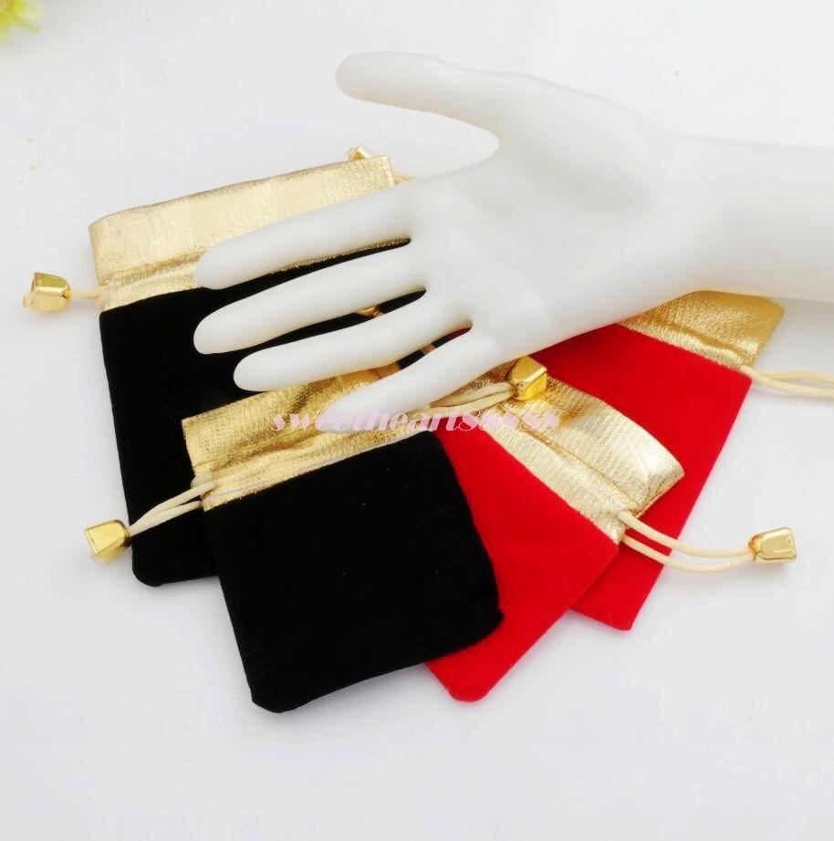 Bolsas de lazo con cuentas de terciopelo 100 unids / lote es 2 tamaños embalaje de la joyería Navidad regalos de boda bolsas de regalo negro rojo