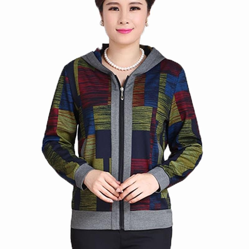 5XL Hood Women Jacket 2016 New Spring MotherJacket Middle-Aged Women Long Sleeve Coat Slim Plus Size Clothes Mother Gift KL265