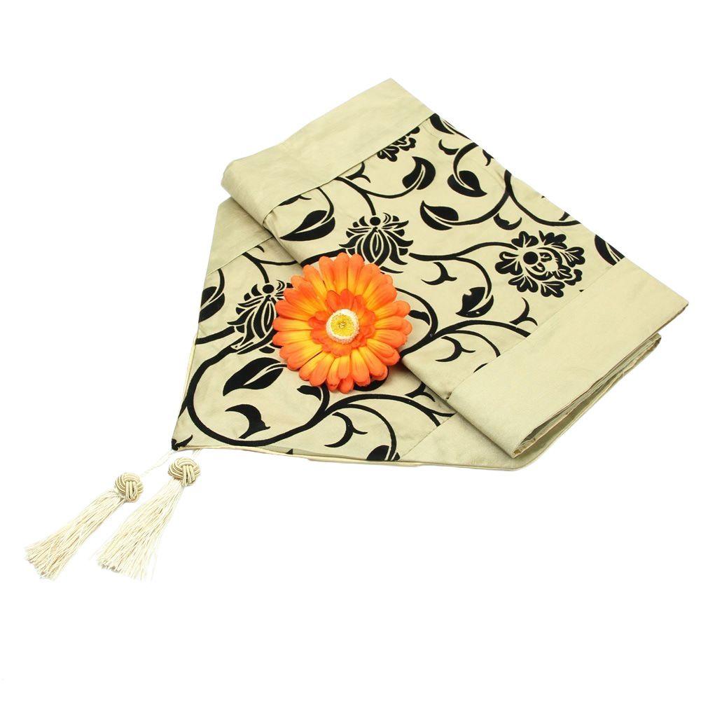 Flora Flower Blossom Flocked Damask Hotel Restaurant Table Runner Cloth