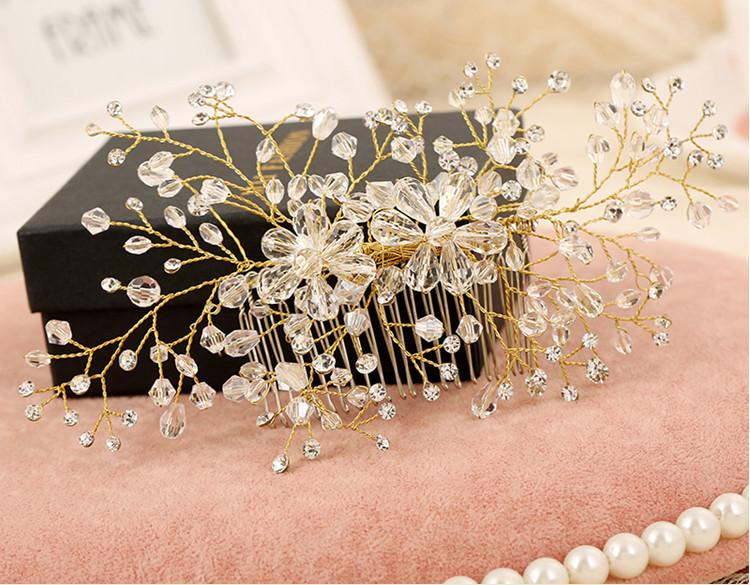 Pretty Wedding Bridal Hair Accessories Rhinestone Crystal Womens Party Head Pieces Bridal Hair Comb Events Hair Decoration Accessories