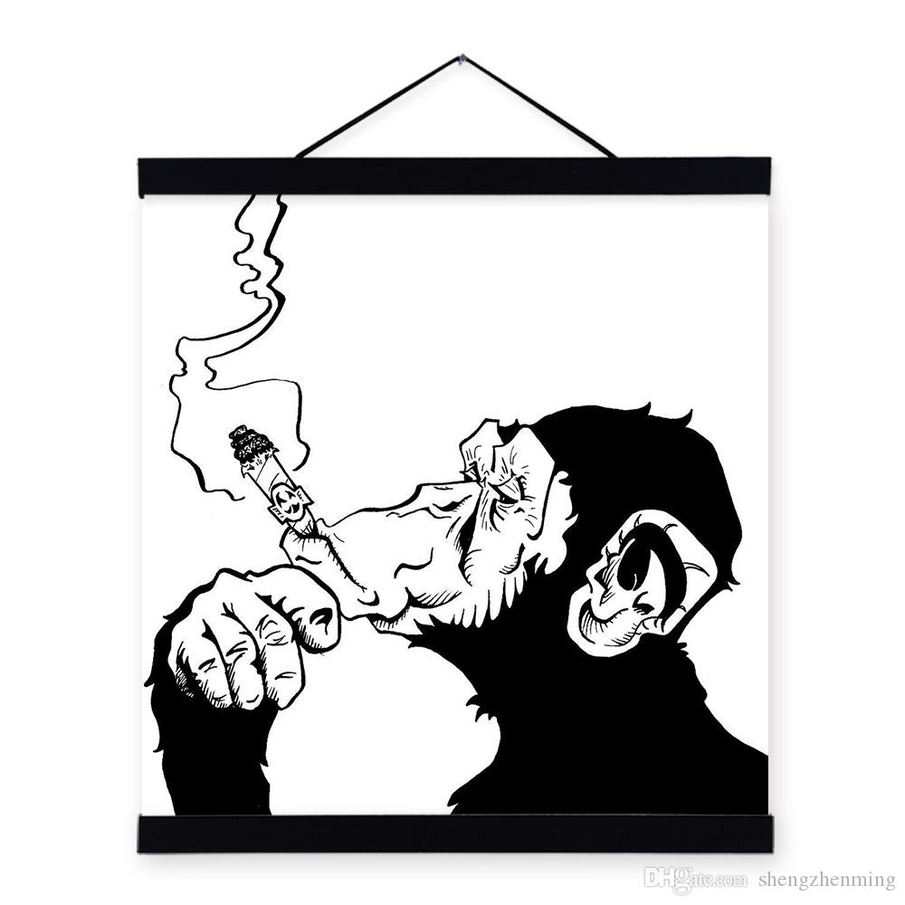 mild art drawings smoking gorilla chimpanzee black white fashion