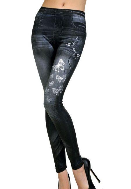 New Fashion Womens - Leggings stampati a farfalla - Leggings imitazione senza cuciture Nove minuti di pantaloni i opzionali