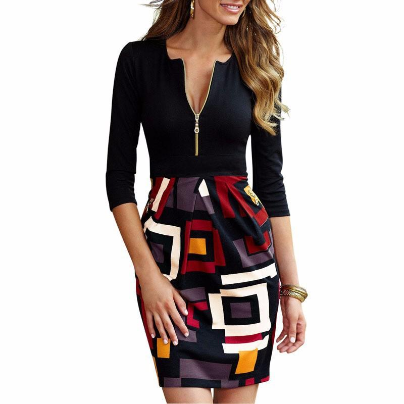 New Colorblock Patchwork Office Ladides Pencil Dress Vestidos Robe Women Work Business Casual Sheath Bodycon dresses zipper plus size s-xxl