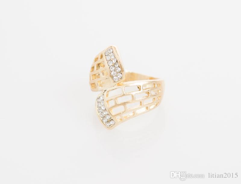 Venda quente Contas Africanas Conjuntos de Jóias de Casamento Colar De Cristal De Ouro Anel Pulseira Brincos Partido Moda Feminina Acessórios Para Noivas