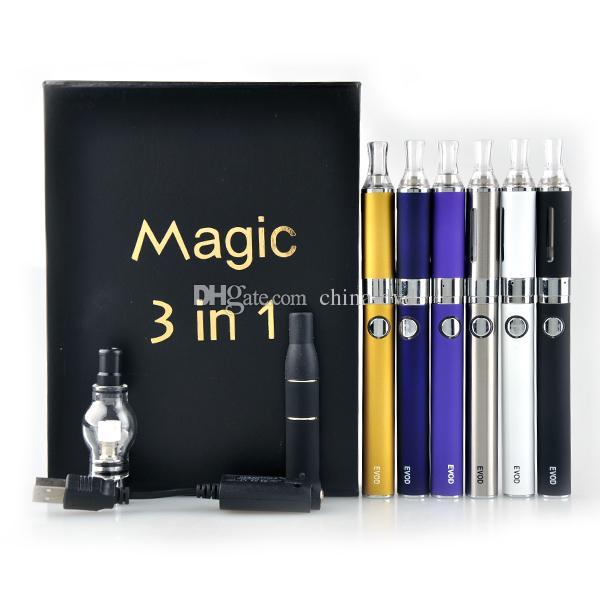 Magic Vaporizador 3 en 1 Kit E Cig Vaporizador 650mah 2.4-2.8 ohm Púrpura Plata Blanco Amarillo Negro Rojo Azul