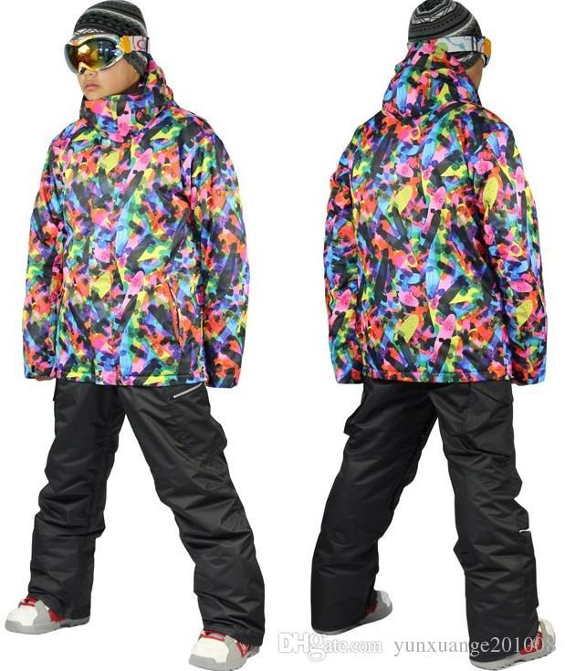 2017 2014 Mens Geometric Ski Suit Male Snowboarding Suit Snow Suit ...