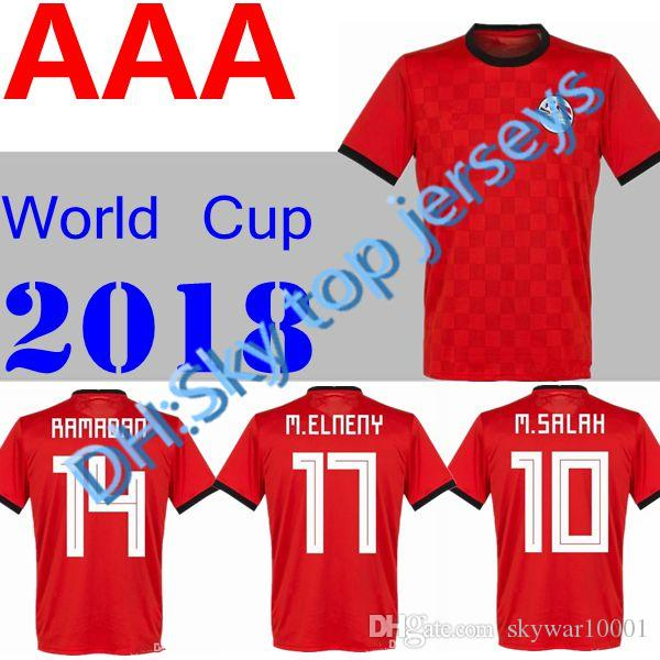 78cc71063 Ew 2018 Egypt Jersey Soccer M. SALAH World Cup Home Red 17 18 ...