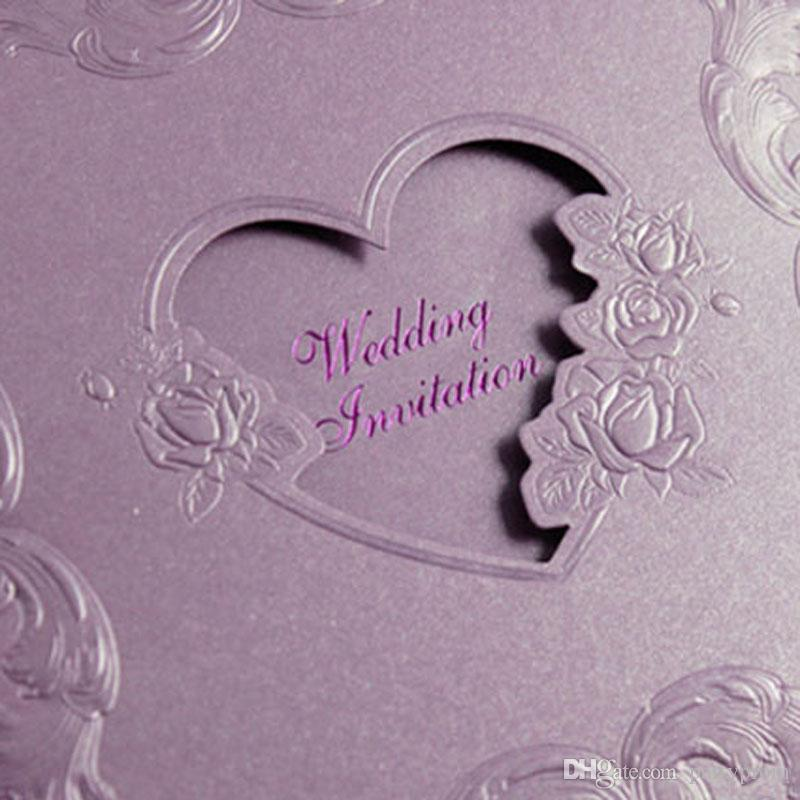 Wedding Invitations Creative High Quality Invitation Cards Customized 3 fold Heart Decoration Invitations Purple Beige Red Color