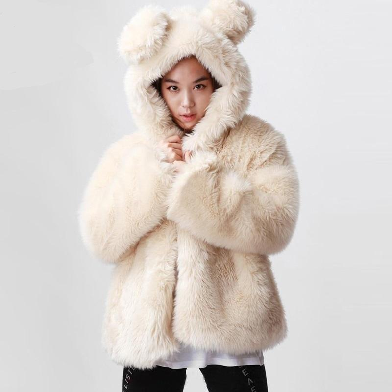 2017 White Winter Warm Faux Fur Coat Women Jacket with Rabbit Ear ...