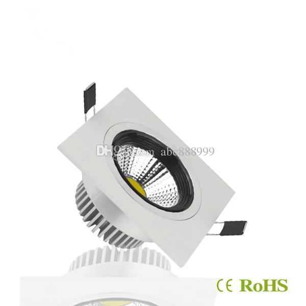 COB 10W 15W LED Downlights cuadrados empotrados Luces empotradas 600/1200 lúmenes Cálido / frío blanco regulable Led luces de techo 110-240V
