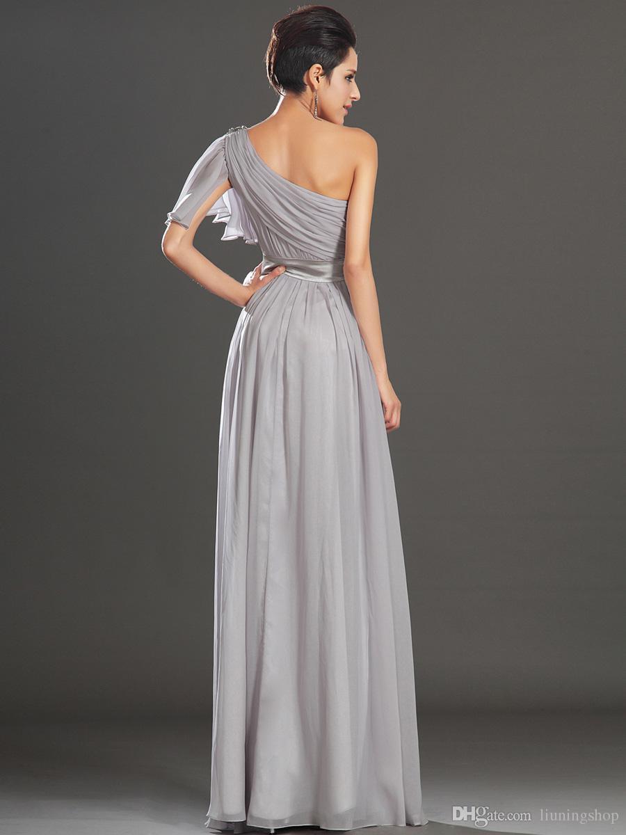 2018 настроить высокое качество серый одно плечо длинный шифон платье невесты вечерние платья простой бальное платье L9