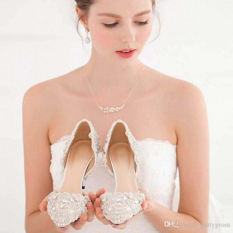 Hot Promotion Luxury Bridal Shoes Appliques Crystal Wedding Shoes Rhinestone High Heel Evening Party Banquet Dress Shoes
