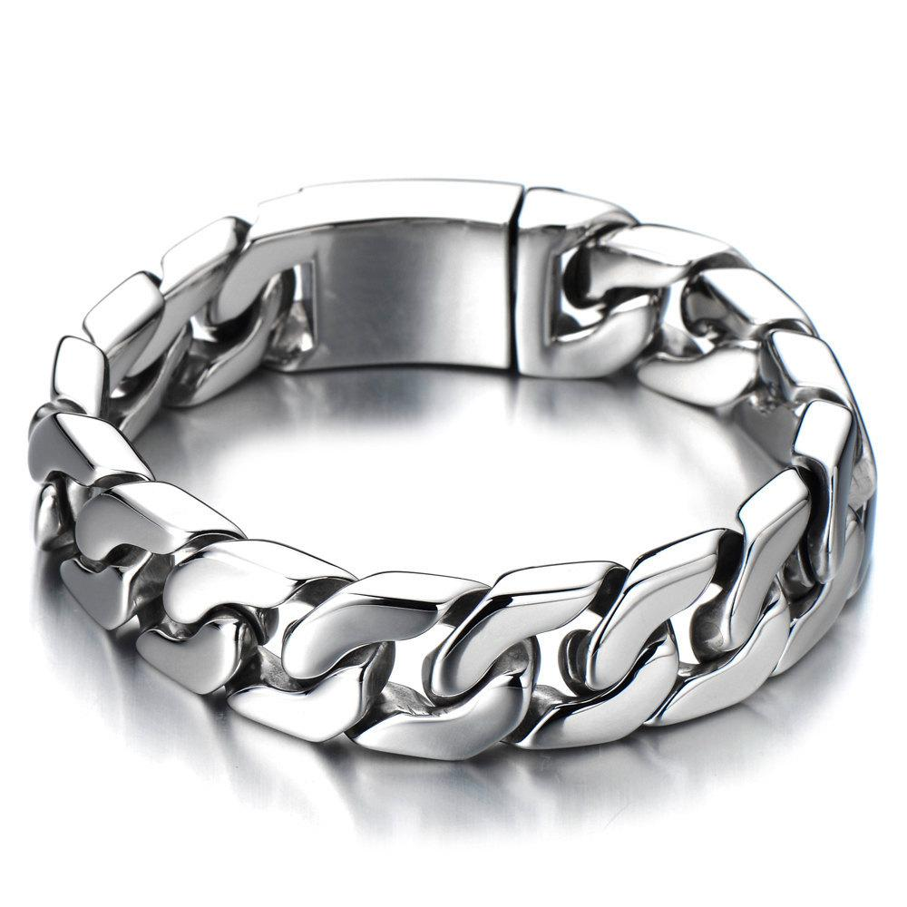 Cuban Chain Bracelet Men Stainless Steel Curb Chain