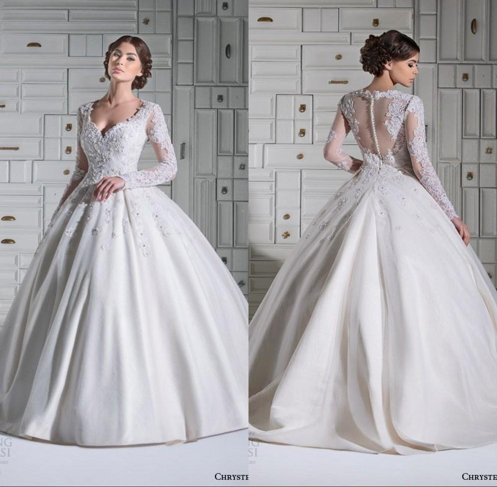 Gorgeous Long Sleeve Ball Gown Wedding Dresses 2015 Spring Garden ...