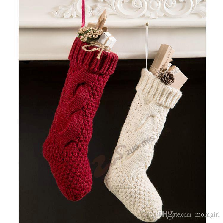 christmas stocking xmas white red candy knitted sock gift adult women socks hanging bag santa home decoration ornaments women socks red white socks online - Red And White Christmas Stockings