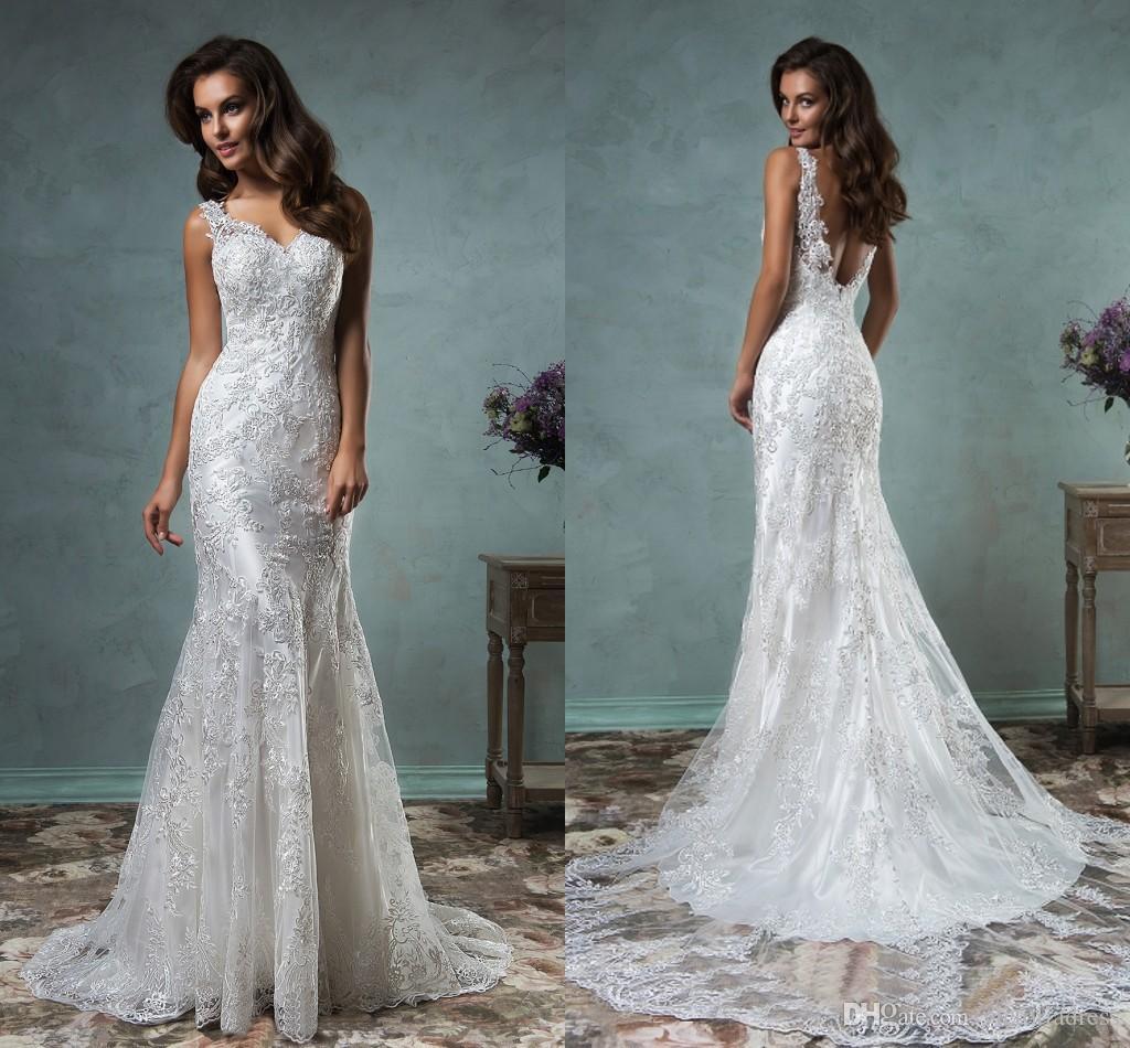 Discount 2016 Spring Vintage Lace Wedding Dresses Adelina