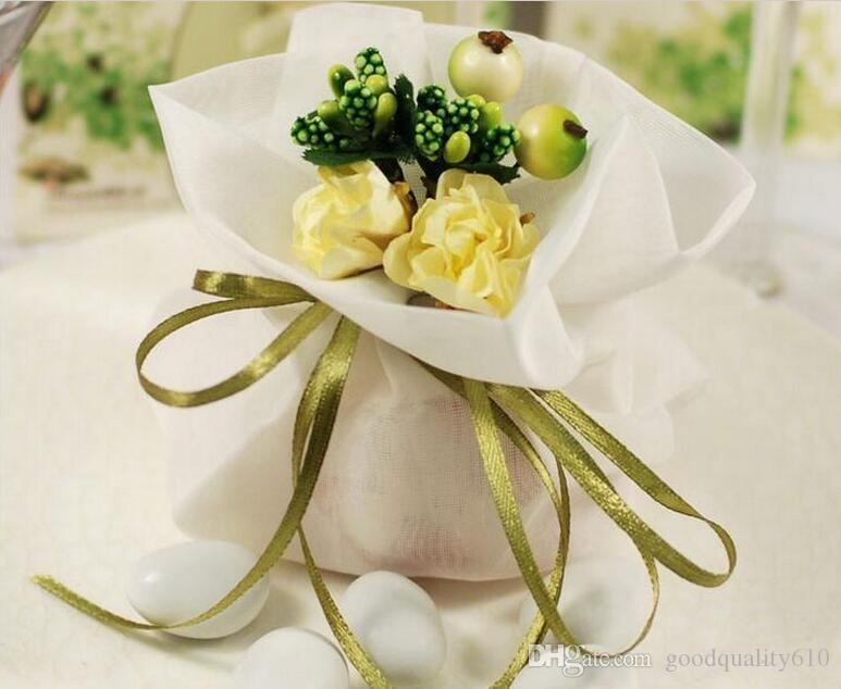 Deluxe Romantic Satin Candy Bags Flower Wedding Party Baby Shower Favor