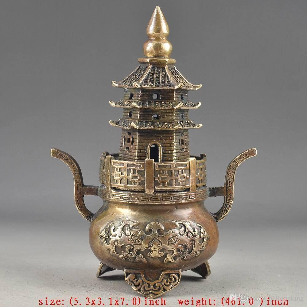 Wholesale cheap Brass Buddha Exorcism Handwork Old Hammered Pagoda Totem Incense Burner statue
