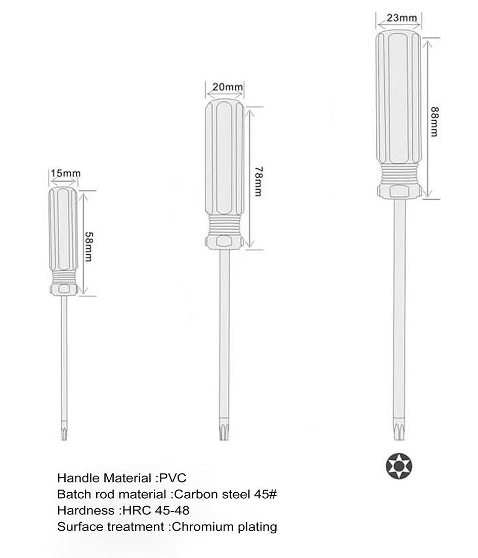 T30 / T40 مع هول توركس مفك مفتاح PVC الملونة شريط مقبض المفكات أداة إصلاح بالجملة /