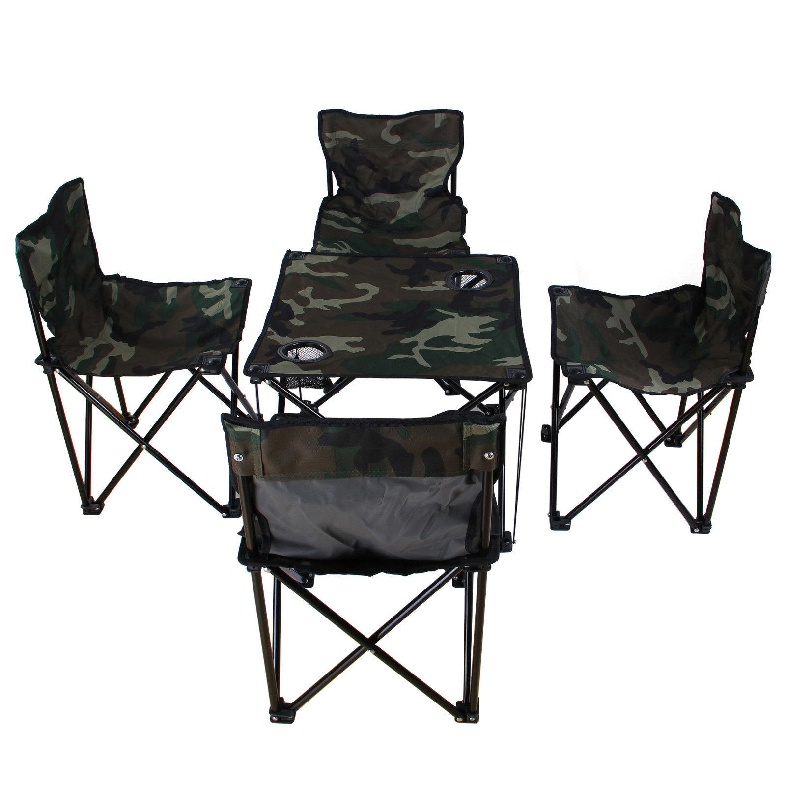 New For Hunting Blind Hiking Camping Fishing Portable 4 Folding Chairs 1 Table