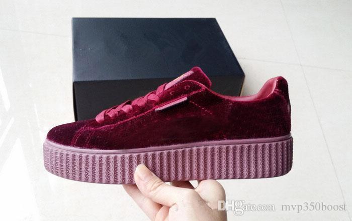 Para mujer Rihanna Riri Fenty Plataforma Creeper Velvet Pack Borgoña Negro Gris Color Marca Señoras Zapatos Casuales Clásicos 36-39