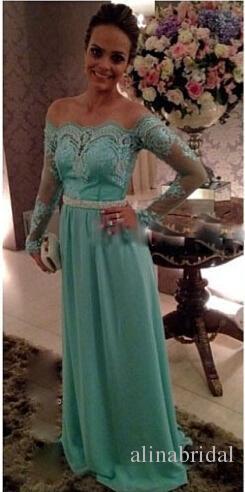 Mint Green Off the Shoulder Lace Vestidos de noche con mangas largas Vestidos de baile 2015 Vestido largo y elegante para mujer Vestidos de Festa