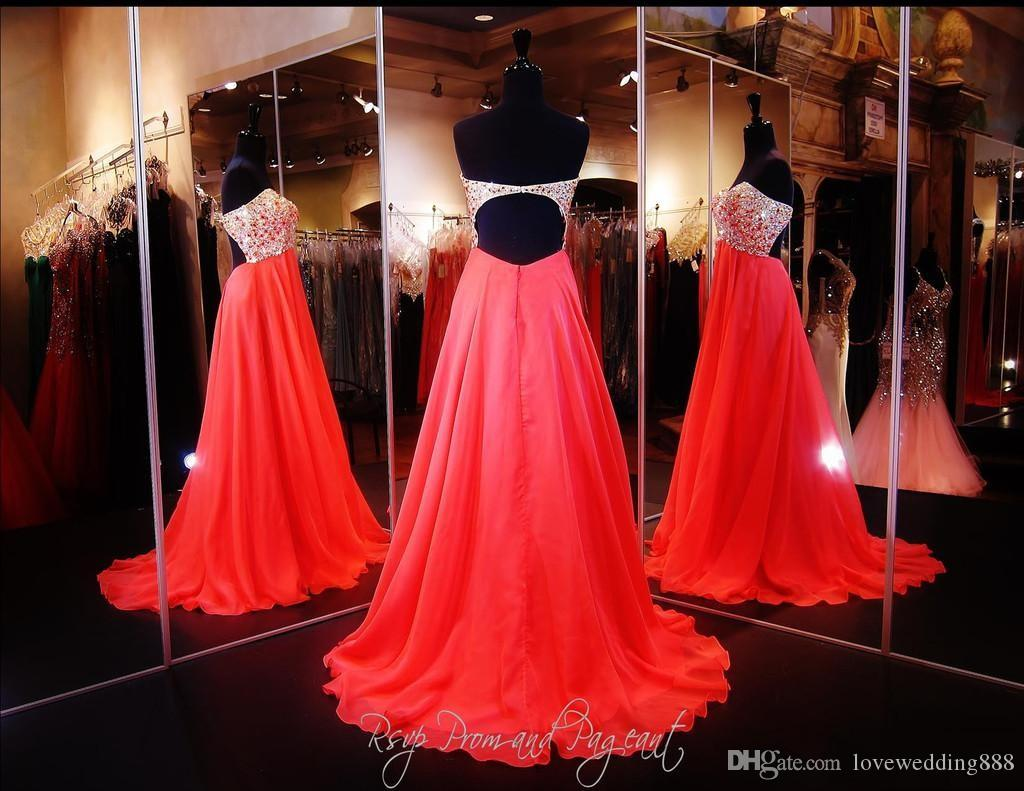 Stunning Coral Strapless Prom Dress Multi Colored Beaded Crystal Party Pageant Gowns Sweetheart Neckline Open Back Chiffon Full Length 2016