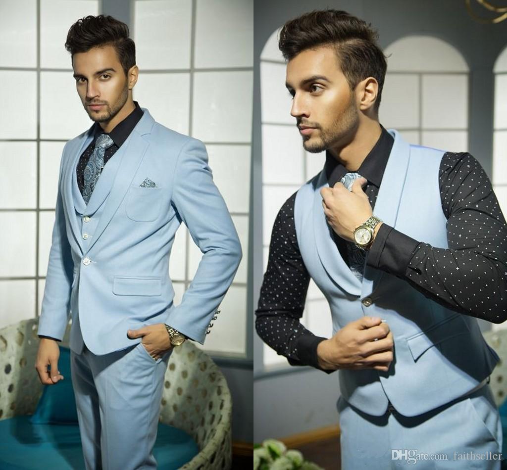 Men Wedding Suits Handsome Formal Suits For Men Blue Vest Grooms ...